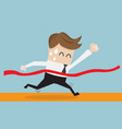 businessman in finish line business success vector image