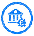 euro bank settings rounded icon rubber stamp vector image