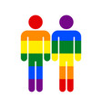 two man lgbt movement rainbow flag vector image