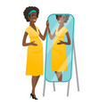 pregnant woman looking at herself in a mirror vector image
