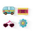 flat set icon hippie concept vector image