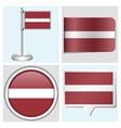 Latvia flag - sticker button label flagstaff vector image