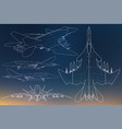 set of military jet fighter silhouettes image of vector image