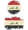 Iraqi round and square grunge flags vector image