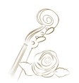 brown violin and rose lines vector image