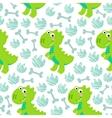 Green Dinosaur Rex seamless pattern vector image