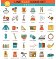 sewing flat line icon set Modern elegant vector image