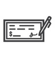 bank check line icon business and finance pen vector image