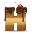 Cake letter H- birthday font vector image