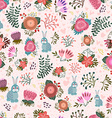 Cute seamless pattern with flowers and hares vector image