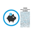Euro Piggy Bank Rounded Icon with 1000 Bonus Icons vector image