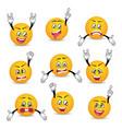 joyful and sad smileys with hands gesture set vector image