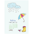 month calendar october 2018 umbrella and boots vector image