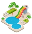 Summer fun at aqua park Child with parents on vector image