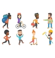 set of tourists and business characters vector image