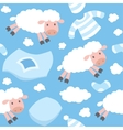 Seamless pattern with funny flying sheeps vector image