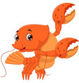 cartoon lobster waving vector image