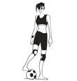 girl playing football vector image