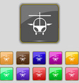 helicopter icon sign Set with eleven colored vector image