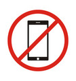 No phone sign no talking by phone sign red vector image