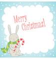 Cute bunny Christmas greeting card vector image