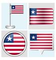 Liberia flag - sticker button label flagstaff vector image vector image