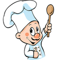 chef hold wooden spoon vector image