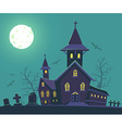 halloween of haunted house cemetery bats vector image