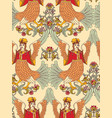 old slavic vintage ornament bird seamless pattern vector image