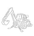 Outline of backhoe loader vector image
