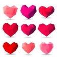 Set of heart gem symbols vector image