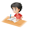 cartoon boy sketching vector image vector image