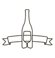 contour with bottle wine and goblet vector image