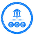 euro bank transactions rounded icon rubber stamp vector image