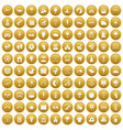 100 childrens playground icons set gold vector image vector image