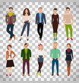 young fashion people on transparent background vector image
