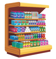 Shelfs with household chemicals vector image vector image