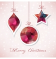 Red christmas balls with triangle filling vector image