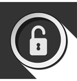 black icon with open padlock and stylized shadow vector image