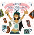 Happy Free wi-fi Free Day funny greeting card vector image