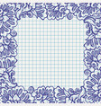 ball pen floral frame on school paper vector image