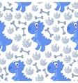 Blue Dinosaur Rex seamless pattern vector image