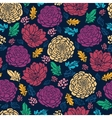 Colorful vibrant flowers on dark seamless pattern vector image