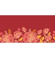 Gold and red flowers horizontal seamless pattern vector image