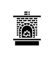 masonry heater - fireplace with brick chimney with vector image