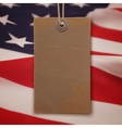 Price tag on American flag background vector image
