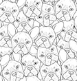 Seamless background with cute bulldog sketch vector image