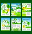spring flower green leaf poster template design vector image