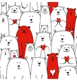 White bears family valentine day seamless pattern vector image