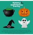 Set for Halloween party pumpkin witch hat vector image
